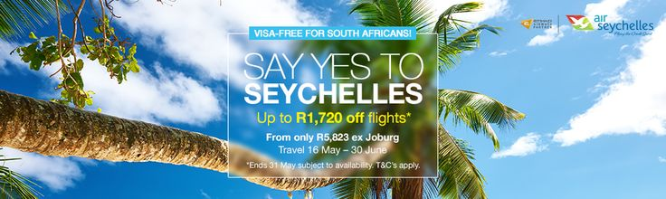 Say YES to Seychelles  Save up to R1720 on flights to this lush Island getaway with +Air Seychelles  Read more>> http://www.travelstart.co.za/lp/airlines/air-seychelles  #travelstart #seychelles #airseychelles #cheapflights  Sale ends 31st May 2016.