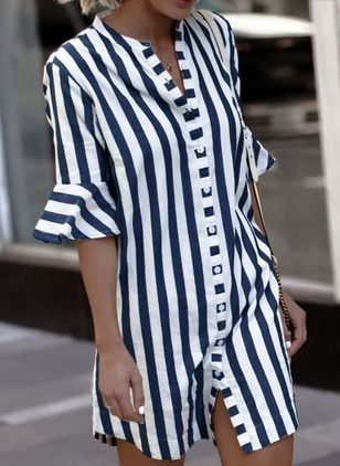 Solid Cotton Half Sleeve Blouses - Floryday @ floryday.com