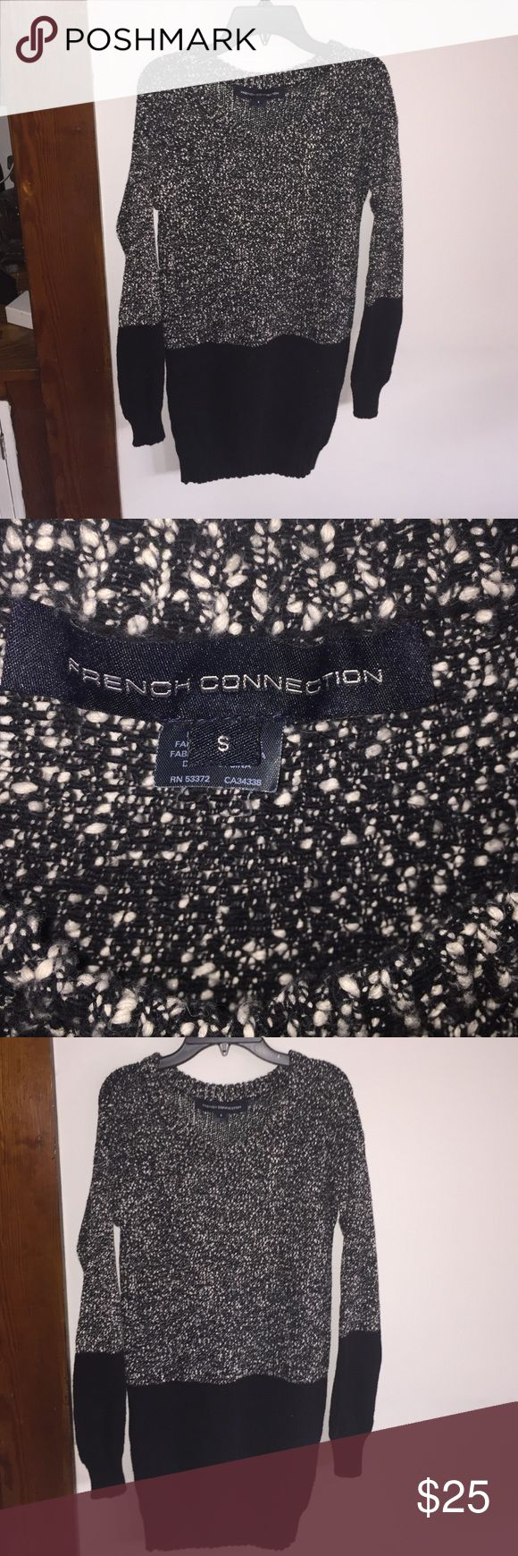French connection tunic sweater Black marled tunic sweater. Great with leggings!! French Connection Sweaters Crew & Scoop Necks