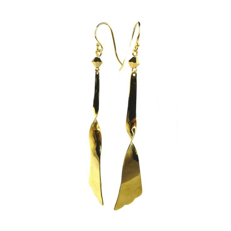 Freesia earrings made from bullet casings.
