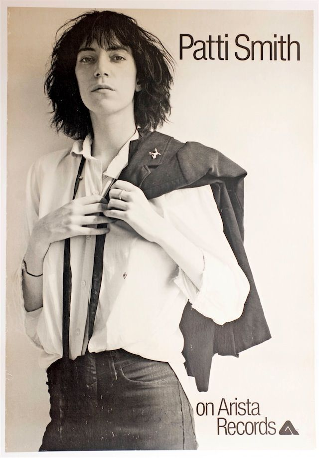 """Patti Smith's """"Horses"""" album promo poster by Bob Heimall and Robert Mappelthorpe, 1975."""