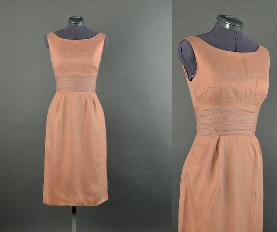 1950s Dress / chiffon wiggle dress / 50s Dress party dress