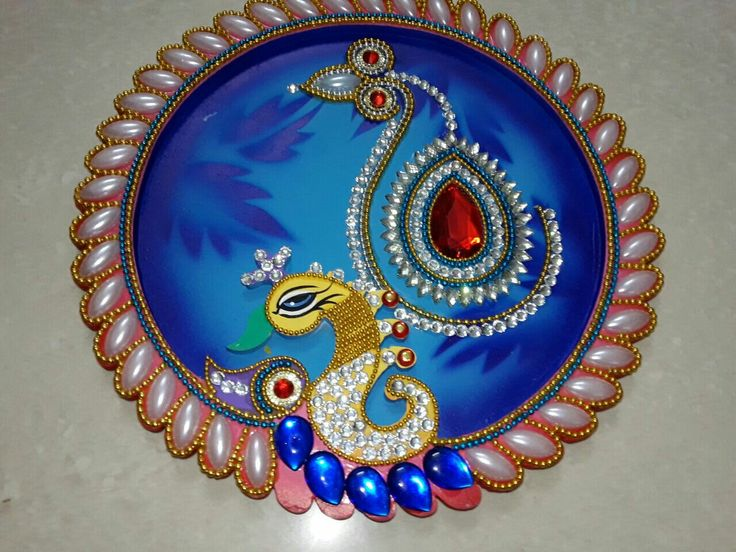 373 best rangoli images on pinterest for Aarti thali decoration with kundan