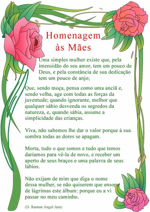 Homenagem Para O Dia Das Mães Poemas Para O Dia Das Mães Homenagem Para Mãe Poema Das Maes