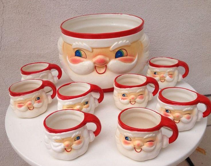 Vintage Holt Howard Santa Punch Bowl 8 Winking Santa Mugs Set