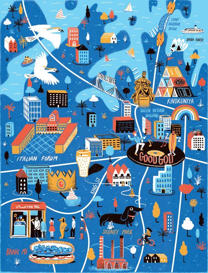 Illustrated map of Sydney, Australia for Computer Arts magazine // Daniel Gray