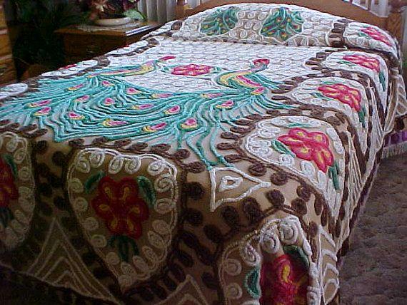 Reduced  vintage chenille peacock bedspread has by designer2, $200.00
