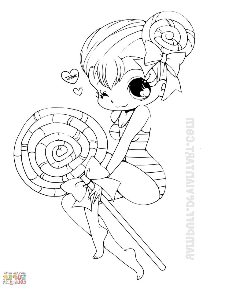 Chibi Lollipop Girl coloring page | Witch coloring pages ...