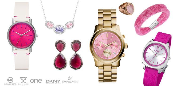 PINK em DKNY, Swarovski, One Watch Company, Michael Kors e Eugénio Campos.