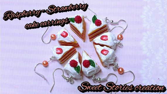 Raspberry & strawberry cake earrings - food miniature earrings - polymer clay jewelry by Sweet Stories creation