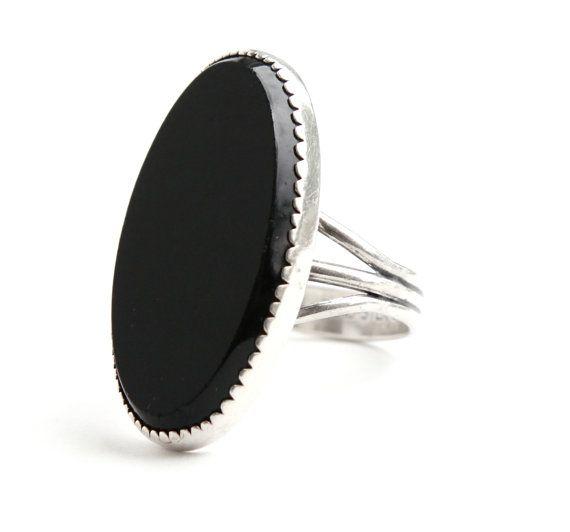 Vintage Sterling Silver Onyx Black Stone Ring by MaejeanVINTAGE.
