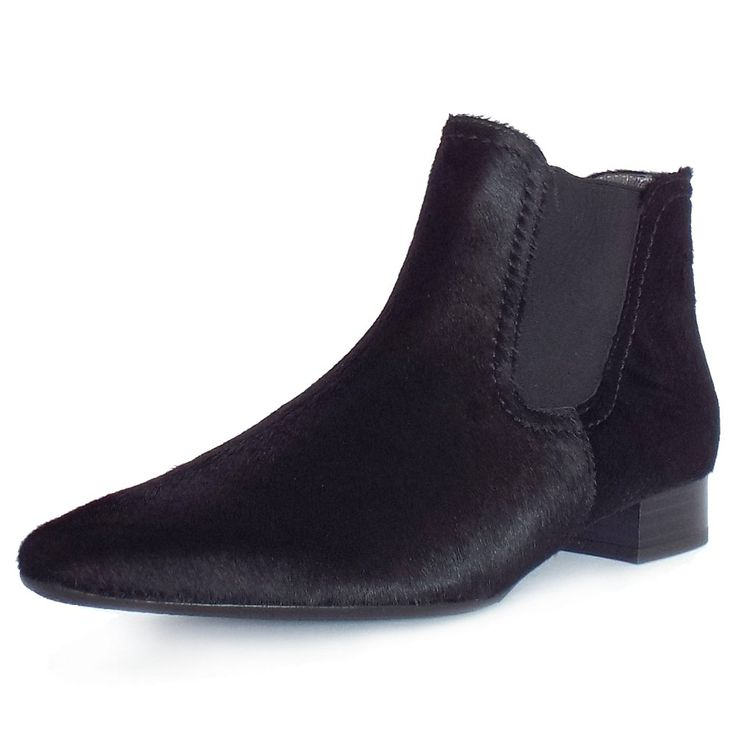 Bruessel Black Pony Skin Leather Pull On Ankle Boots
