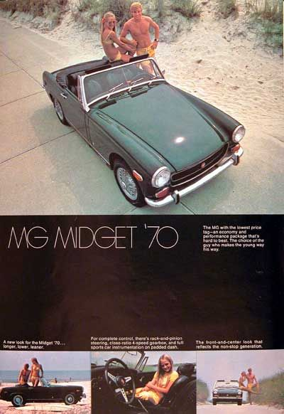 1970 MG Midget Convertible Roadster original vintage advertisement. Equipped with rack & pinion steering, 4-speed gearbox, and full instrumentation.