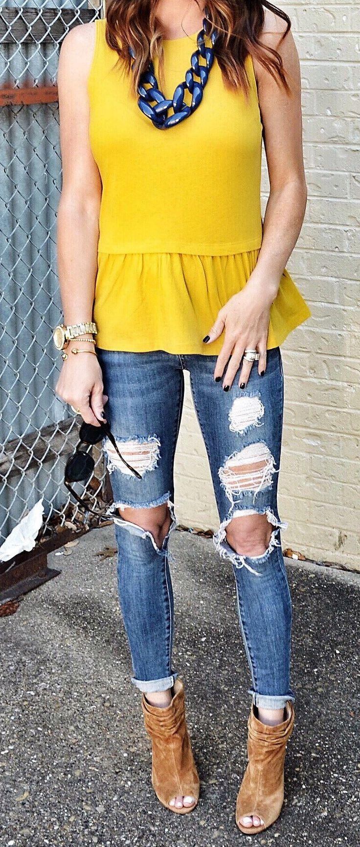 Yellow Top & Destroyed Skinny Jeans & Brown Open Toe Booties