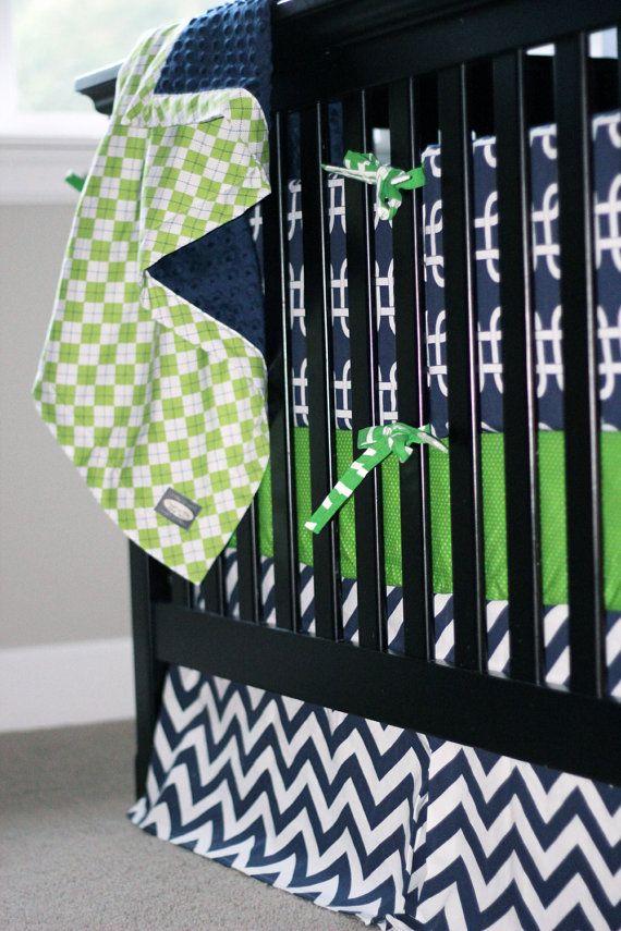 Navy Blue And Lime Green Baby Boy Crib Bedding Grey