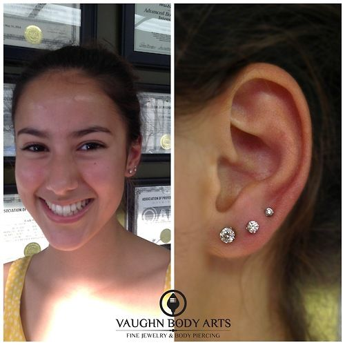 Gina has been patiently waiting to get her second and third lobe piercings.   She stopped in and chose a lovely pair of Anatometal prong set...