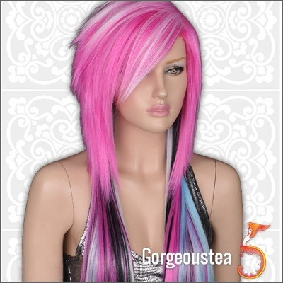 54 best emo haircut images on pinterest hair dos scene haircuts gw447 blue black distinctive sexy punk emo long straight womens hair wig solutioingenieria Images