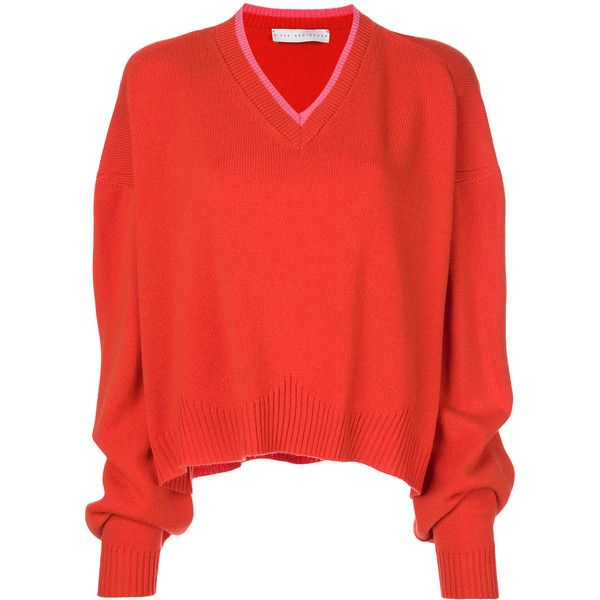 Giada Benincasa slouch fit v-neck sweater (2.935 BRL) ❤ liked on Polyvore featuring tops, sweaters, red, cashmere top, slouchy cashmere sweater, red sweater, red v neck sweater and pure cashmere sweaters