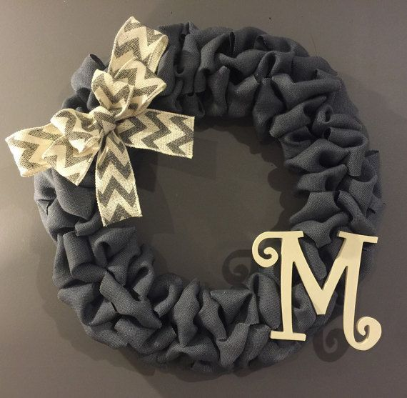 Grey Burlap Wreath Grey Chevron Wreath Front by AllThatsRustic