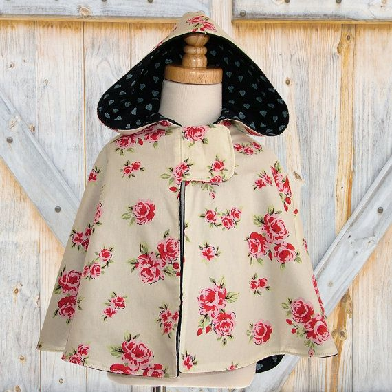 Girls Cape, PDF sewing pattern, Cape pattern, Girls pattern, Girls hooded jacket, Childrens Kids clothing, Maisie Cape, Sizes 1 to 8. $7.50, via Etsy.