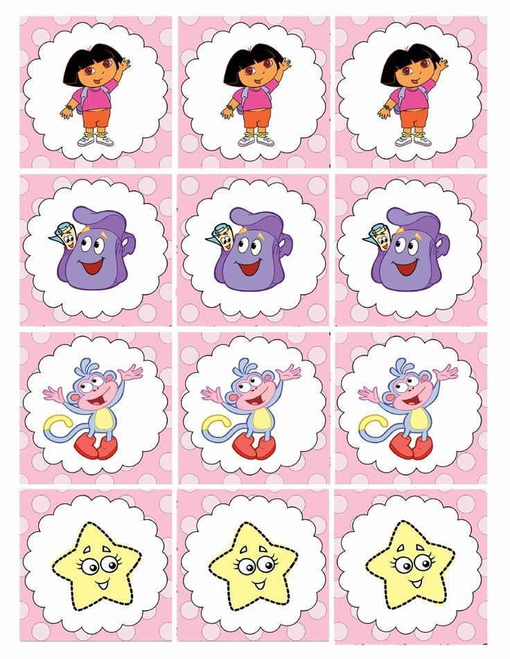 Printable Dora cupcake toppers. See my other uploads for more Dora birthday party printables