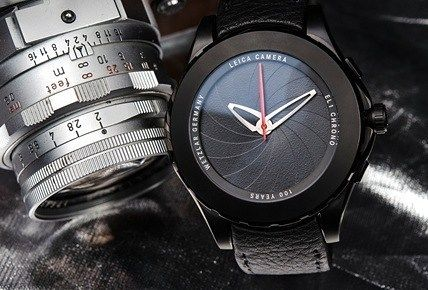 We have a Valbray EL1 Chronograph 100 Years of Leica Photography edition watch set for sale. Leica has said this about it: The EL1 Chronograph is distinguished by the unique shutter system of Valbray that acts as a cover for the face and can be opened and closed by turning the bezel. This mechanism is patented and handcrafted from 16 single blades integrated on a rotatable bezel of 46 mm. When completely open the blades are hidden and reveal the specially designed chronograph of the watch…