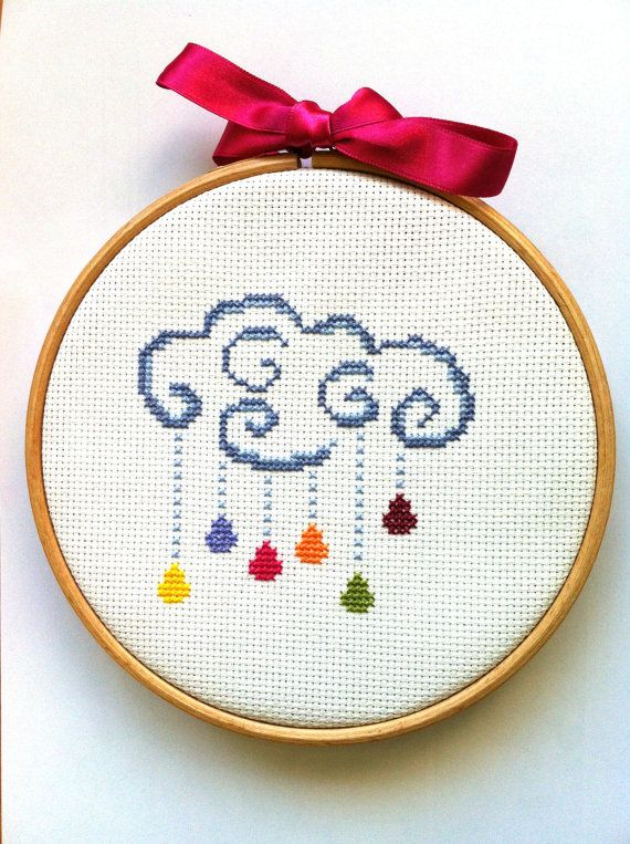 Cloud of rain counted cross stitch pattern by PrincesseNature