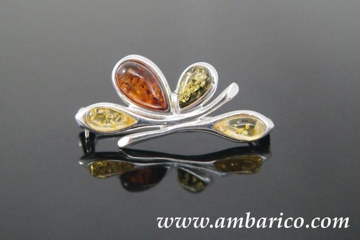 Broche de plata 925 con ambar multicolores de www.ambarico.com por DaWanda.com