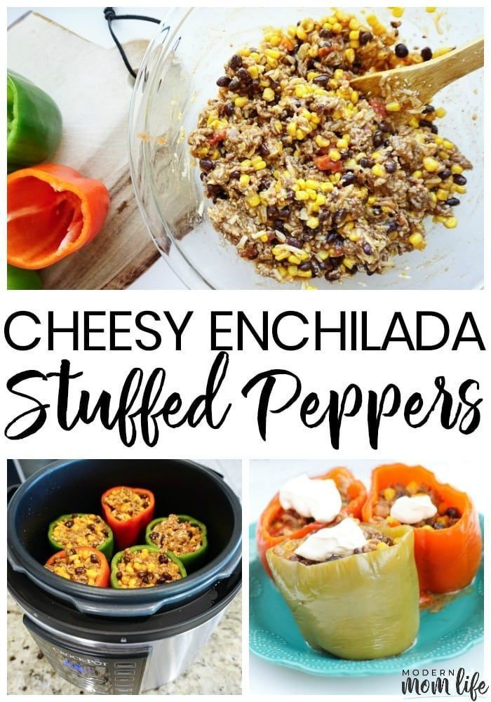 Cheesy Enchilada Stuffed Bell Peppers Recipe Stuffed Peppers Instant Pot Recipes Cheesy Enchiladas