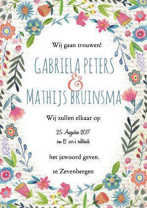 Een hele vrolijke bohemische retro trouwkaart voor op je trouwdag!  #trouwen #trouwdag #bohemian #bloemen #trouwkaart #uitnodiging