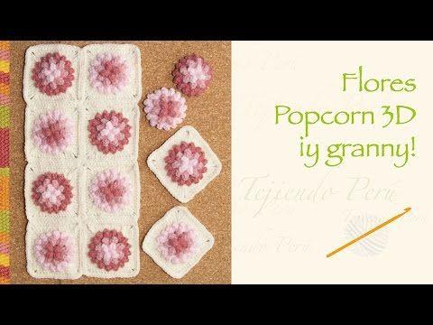 Crochet paso a paso: flores popcorn 3D... incluye diagrama para hacer un granny! - YouTube