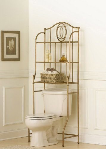 Emerson Spacesaver by Hillsdale Furniture. $113.73. Width 26.5. Material Metal. Height 68. Style Transitional. Length 15. The Emerson spacesaver is fashionable and functional addition to your bath. Constructed of sturdy tubular steel, it is finished in a lovely golden bronze and accented by an overlapping oval design. The multiple shelves provide ample storage and display space serving both necessity and style.