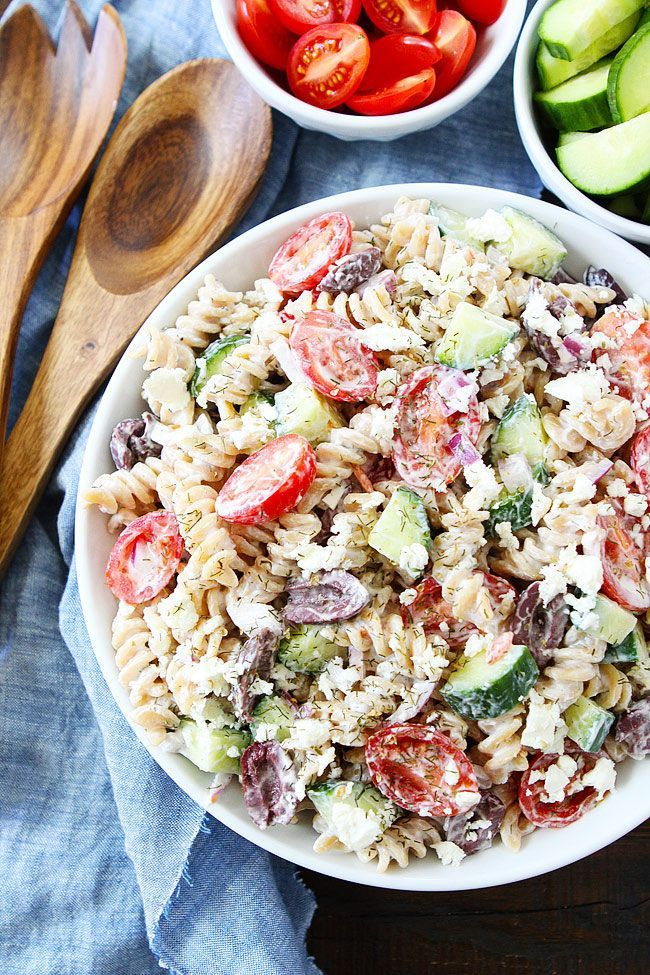 No-Mayo Creamy Greek Pasta Salad with tomatoes, cucumbers, olives, red onion, feta cheese, dill and Greek yogurt dressing