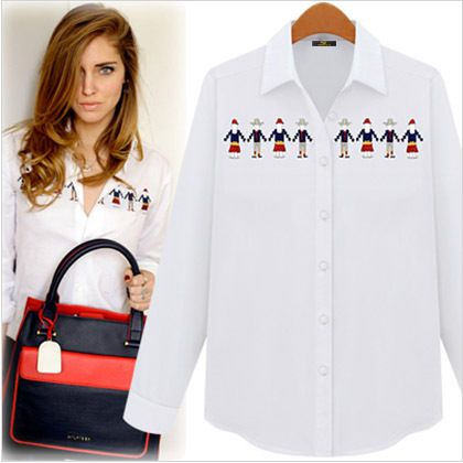 FASHION women Didiar Young 2014 spring british style women's white shirt female long-sleeve embroidery shirt $37.95
