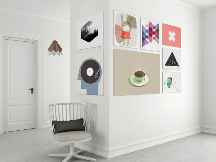 Gallery wall ideas. Mix and match frameless metal prints. Very minimal and clean. Create your own at beyondprint.eu