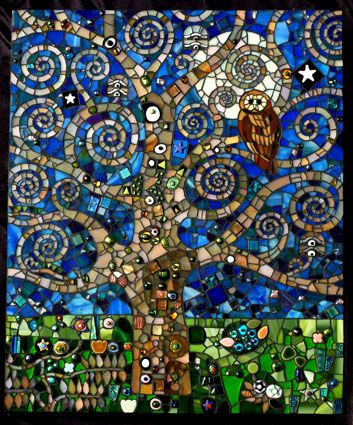 Art Nouveau tree and owl mosaic