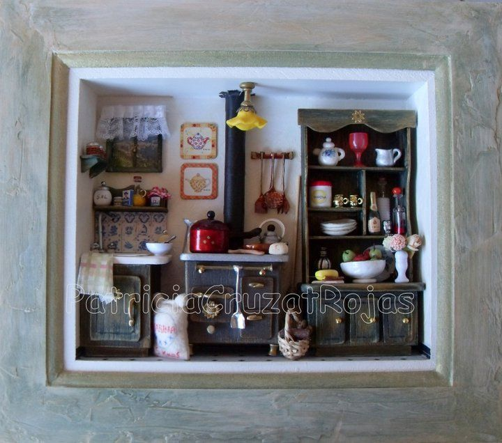 Miniature kitchen room box cuadro cocina con miniaturas Miniature room boxes interior design