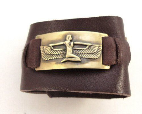 Isis Bracelet, Leather, Adjustable Handmade 1000K' ways. $49.00. medium 6 inches. small size 5 inches. stitched Isis into brown leather.. 2 inches wide. large 7 inches