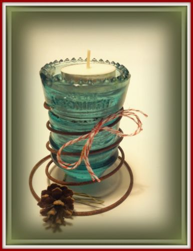 Tphh upcycled primitive antique glass insulator candle for Insulator candle holder