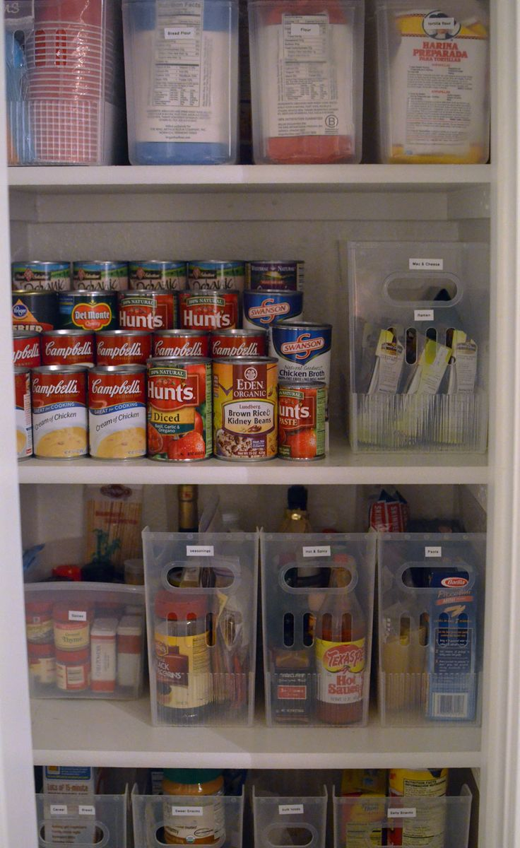 Great pantry organization with desktop file boxes.