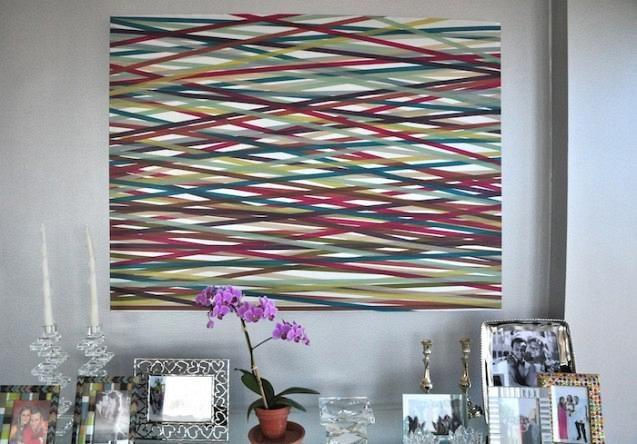 Washi tape σε καμβά για αφηρημένη τέχνη