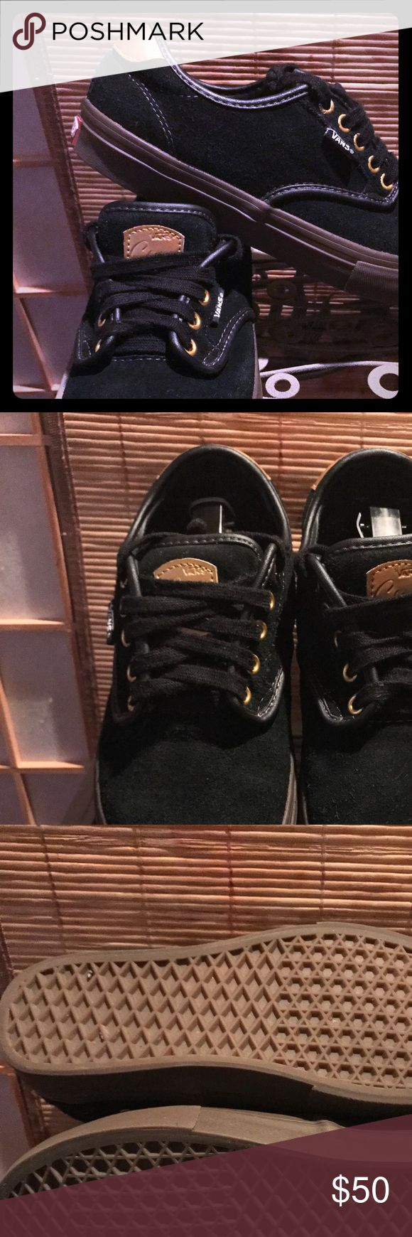 """🆒VANS Chima Ferguson Pro Shoes in Box🆒 These black/gum/gold VANS Chima shoes were bought too small for one son and then younger son missed the chance to wear them too 🙃. They have been worn once maybe twice. They are really NWOT and not """"used"""" and are in virtually new condition. Comes in VANS box and wrap. See pics 😉and send an offer!! Vans Shoes Sneakers"""