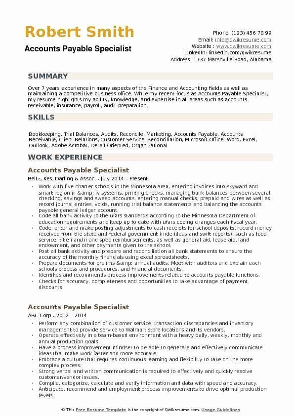 Accounts Payable Job Description Resume Unique Accounts Payable Specialist Resume Samp Nurse Job Description Counselor Job Description Job Description Template