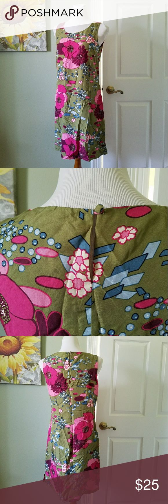 Retro Print 100% Silk Floral Dress 8 Gently worn excellent condition  Just needs an iron or steam to get rid of wrinkles  Silk Button closure on back of neck   BUNDLE your likes and shoot me and OFFER! Glad to Hundreds of items available for discounted bundle offers! august silk Dresses