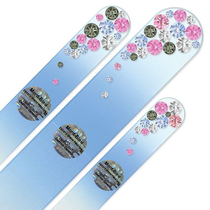 Set bestehend aus 3 Handgefertigte Glasnagelfeilen von Hand dekoriert crystals from Swarovski® | Echtem gehärteten Glas aus Tschechien, lebenslange Garantie: Amazon.de: Beauty