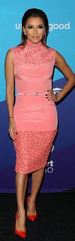Who made  Eva Longoria's pink belted dress and red pumps that she wore in Culver City on February 27, 2014?
