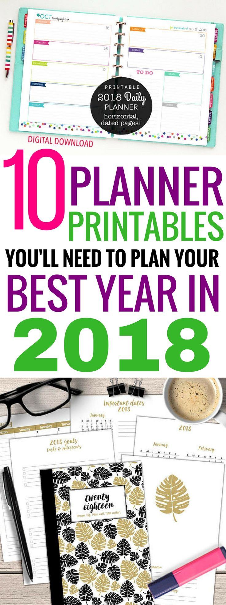 These 10 planner printables are THE BEST! I'm so glad I found these great printables1 Now I can organize my entire life this year! Definitely pinning! #printables #organizing