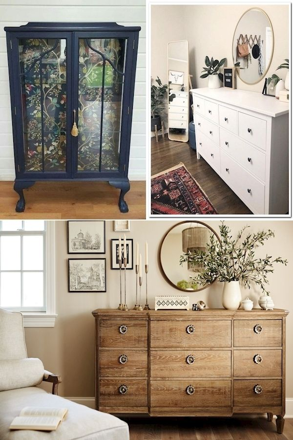 Bella Warm Cherry Wood Metal Glass Dresser Dresser Decor Bedroom