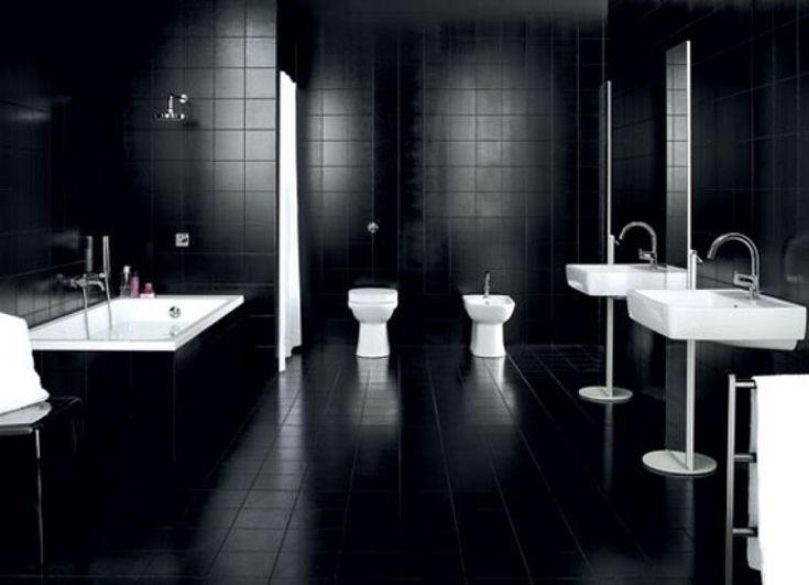 Elegant Black And White Bathroom Ideas For Design Inspirations With Twin  Floating Style White Rectangle Shaped