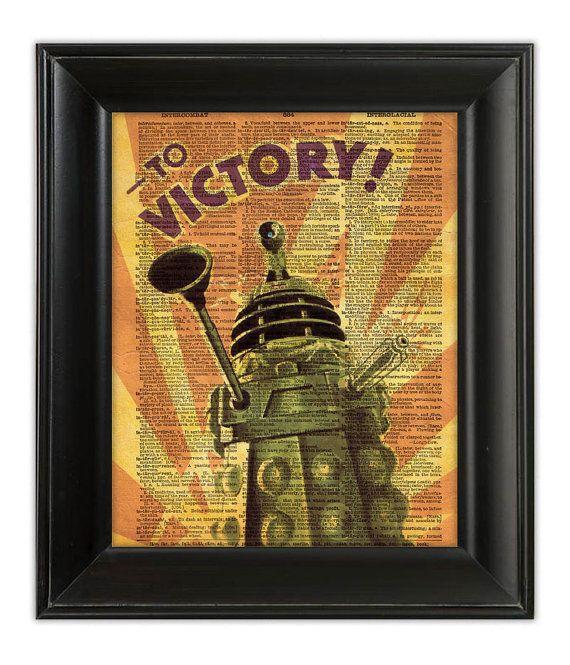 Dalek victory vintage propaganda poster dr who retro for Forward dictionary